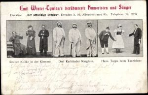 Ak Dresden, Emil Winter Tymians berühmteste Humoristen, Sänger, Rentier Kulike, Hans Tapps, Kurgäste