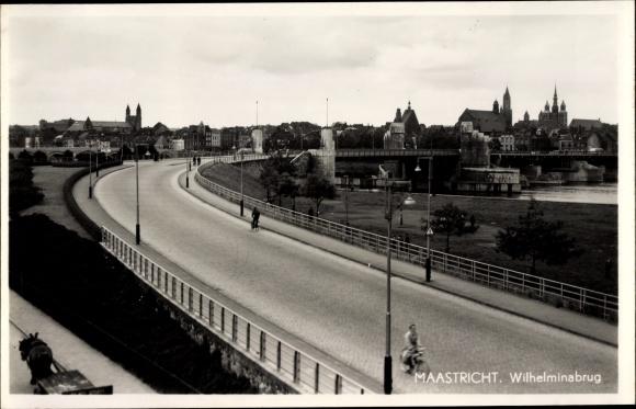 Ak Maastricht Limburg Niederlande, Wilhelminabrug, Brücke, Stadtansicht