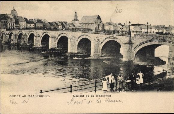 Ak Maastricht Limburg Niederlande, Gezicht op de Maasbrug