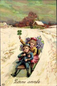 Litho Glückwunsch Neujahr, Junge, Mädchen, Schlitten, Kleeblätter
