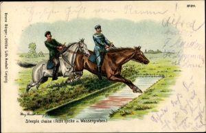 Litho Soldaten beim Hindernisrennen, Steeplechase, feste Hecke und Graben
