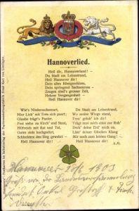 Präge Wappen Ak Hannover in Niedersachsen, Hannoverlied, Löwe, Einhorn
