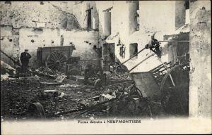Ak Neufmontiers Seine et Marne, Ferme détruite, Kriegszerstörung I. WK