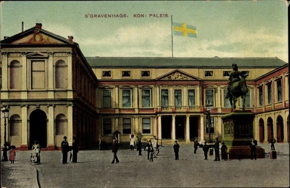 Ak 's Gravenhage Den Haag Südholland, Kon. Paleis, Palast, Reiterstandbild