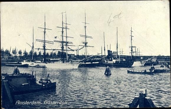 Ak Amsterdam Nordholland Niederlande, Oosterdok, Segelschiffe