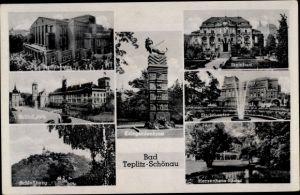 Ak Teplice Teplitz Schönau Reg. Aussig, Stadttheater, Schlossplatz, Steinbad