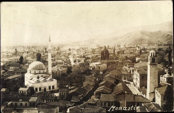 Foto Ak Bitola Monastir Mazedonien, Panorama vom Ort, Moschee