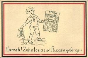 Passepartout Ak Hurrah, Zehntausend Russen gefangen, Extrablatt Wandsbeker Bole, Kind, Propaganda