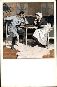 Künstler Ak Wennerberg, Bruno, Schach Partie, verwundeter Soldat mit Krankenschwester