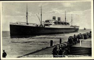 Ak Cuxhaven in Niedersachsen, Abfahrt des Schnelldampfer Cleveland der Hamburg Amerika Linie