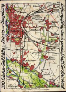 Landkarten Ak Halle an der Saale, Fahrplan, Bezirke, Edeka Reklame