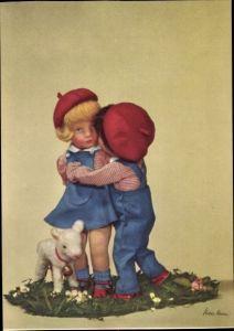 Ak Käthe Kruse Puppen, Junge und Mädchen, Lamm