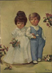 Ak Käthe Kruse Puppen, Brautpaar, Brautstrauß, Blumen