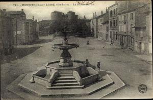 Ak Monistrol sur Loire Haute Loire, La Place Néron