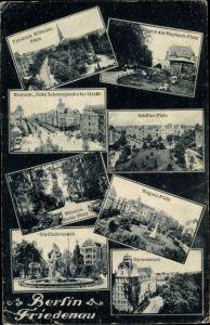 Ak Berlin Schöneberg Friedenau, Maybach Platz, Friedrich Wilhelm Platz, Rheinstraße, Gymnasium