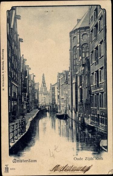 Ak Amsterdam Nordholland Niederlande, Oude Zijds Kolk