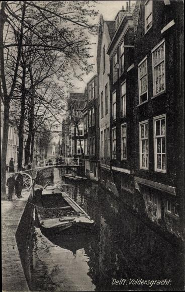 Ak Delft Südholland Niederlande, Voldersgracht, Lastkahn