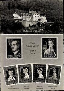 Briefmarken Ak Liechtenstein, Schloss Vaduz, Fürst Franz Josef, Fürstin Gina, Prinzen, Prinzessin