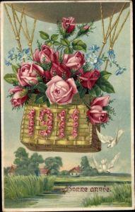 Präge Litho Glückwunsch Neujahr, Heißluftballon, Blumen, Rosen, 1911