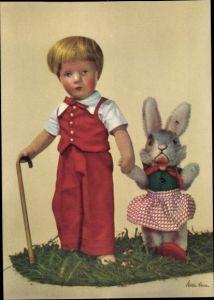 Ak Käthe Kruse Puppen, Junge mit Gehstock und Hase, Plüschhase