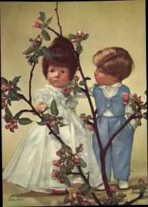 Ak Käthe Kruse Puppen, Brautpaar, blühender Zweig