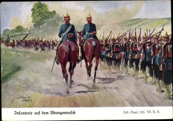 Künstler Ak Döbrich Steglitz, Infanterie Regiment 156, Übungsmarsch