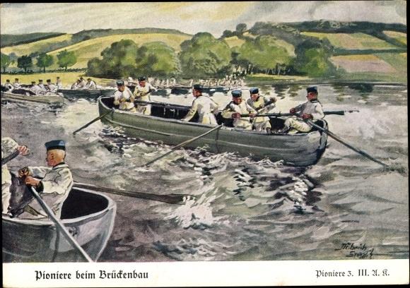 Künstler Ak Döbrich Steglitz, Pioniere beim Brückenbau, Ruderboote