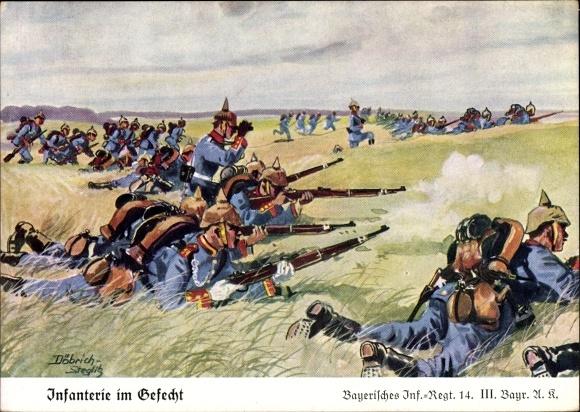 Künstler Ak Döbrich Steglitz, Bayerisches Infanterie Regiment 14, Gefecht