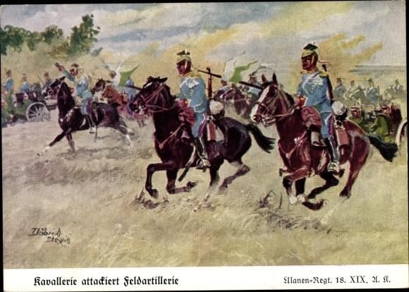 Künstler Ak Döbrich Steglitz, Kavallerie attackiert Feldartillerie, Ulanen Regiment 18