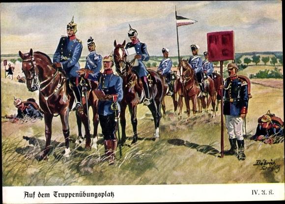 Künstler Ak Döbrich Steglitz, Auf dem Truppenübungsplatz, Reiter, Soldaten