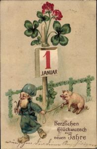 Präge Litho Glückwunsch Neujahr, Zwerg, Schwein, Kalender, Kleeblätter