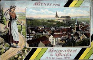 Ak Weida in Thüringen, Heimatfest, Frau in Tracht, Stadtansicht