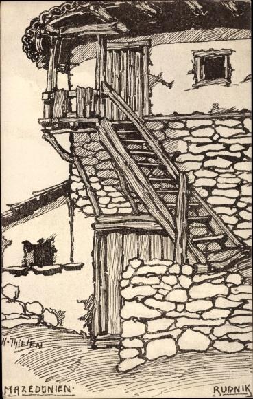 Künstler Ak Thielen, H., Rudnik Mazedonien, Einfaches Haus
