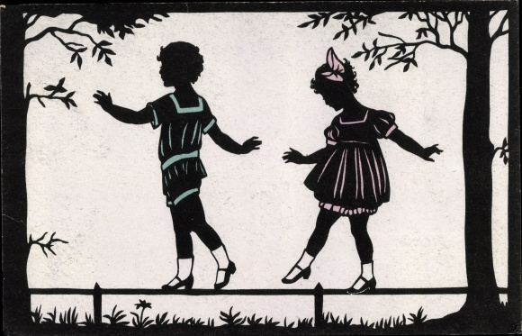Scherenschnitt Ak Junge und Mädchen balancieren auf einem Zaun, Meissner Buch 2508
