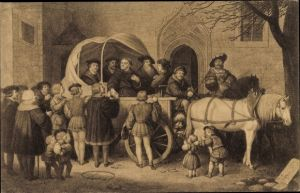 Künstler Ak Reformator Martin Luther's Abreise von Wittenberg zum Reichstag in Worms am 02. Apr 1521