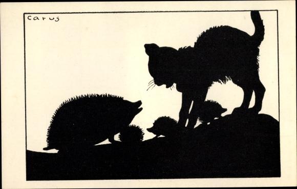 Scherenschnitt Ak Carus, Hauskatze begegnet Igeln