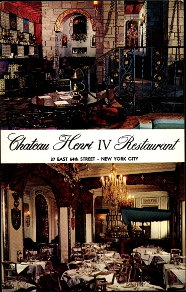 Ak New York City USA, Chateau Henri IV Restaurant, 37 East 64th Street