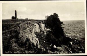 Ak Greifswalder Oie Kröslin Ostsee, Leuchtturm und Steilküste