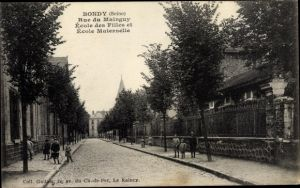 Ak Bondy Seine Saint Denis, Rue du Mainguy, Ecole des Filles et Ecole Maternelle
