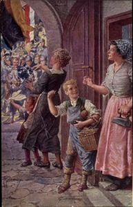 Künstler Ak Kuderna, Franz, Soldaten, Frau, Kinder, Bügeleisen, Deutscher Schulverein Nr. 811