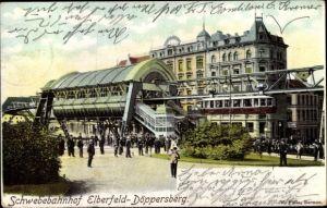 Ak Elberfeld Wuppertal Nordrhein Westfalen, Schwebebahn, Bahnhof Döppersberg