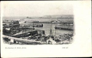 Ak St. Helier Jersey Kanalinseln, The Harbour, Hafenpartie