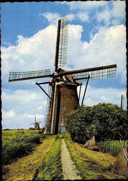 Ak Kinderdijk Molenlanden Südholland, Wassermühle, Windmühle