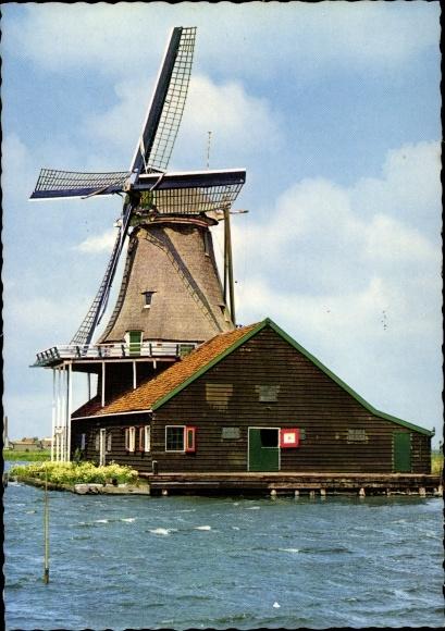 Ak Zaandam Zaanstad Nordholland, Achtkantige Farbenmühle, Windmühle