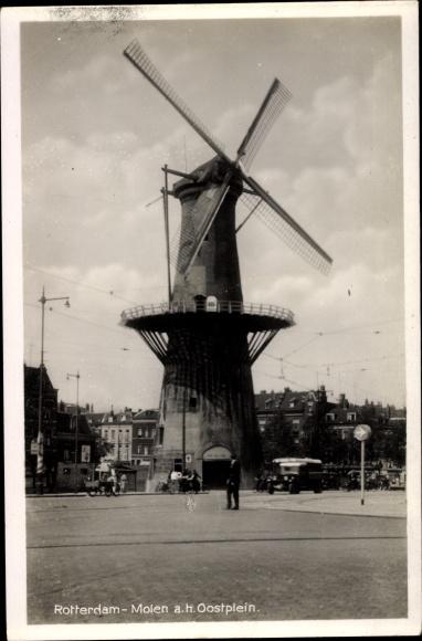 Ak Rotterdam Südholland Niederlande, Molen a. h. Oostplein, Windmühle