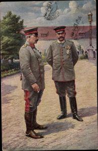 Künstler Ak Kaiser Wilhelm II. von Preußen, Generalfeldmarschall Paul von Hindenburg, Posen
