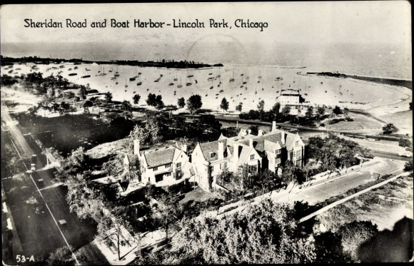 Ak Chicago Illinois USA, Lincoln Park, Sheridan Road, Boat Harbor