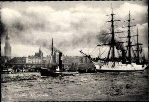 Ak Hamburg Mitte Altstadt, Hafenpartie, Segelschiff, Schlepper