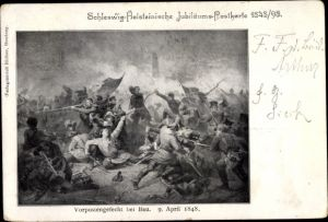 Künstler Ak Bau Schleswig Holstein, Bov Dänemark, Vorpostengefecht 1848