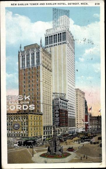 Ak Detroit Michigan USA, New Barlum Tower, Barlum Hotel